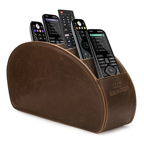 MegaGear Remote Control Holder - Store DVD, Blu-Ray, TV, Roku or Apple TV Remotes - 5 Pockets, PU Leather - Slim, Compact - Dark ()