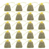 Fan-Ling Dried Lavender in Small Lilac Organza Bags -Real Flower Wedding,Home Dehumidification Purifying Air Lavender Color Organza Bag,Home Fragrance (yellow:20 bag)