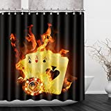 LB Poker Card Casino Game Luck Strikes Fire Shower Curtain Set for Bathrooms, Poker Game Theme Fabric Curtain, 70x70 Inch Bathroom Curtain Waterproof Mildew Resistant