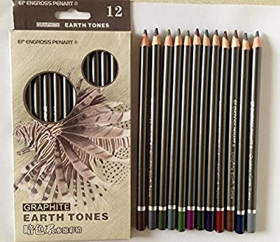 DASARA Peroci Graphite Earth Tones 12 colour water soluble Drawing Pencils Sketch set