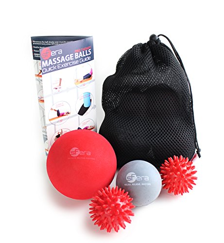 Therapy Massage Ball Set (includes 1 XLarge and 1 Small Medium Firm Ball, 2 Spiky Balls and an EBOOK with Video Instructions) Best Massage Balls for Deep Tissue, Trigger Point and Myofascial Release (Ball Massage Small)