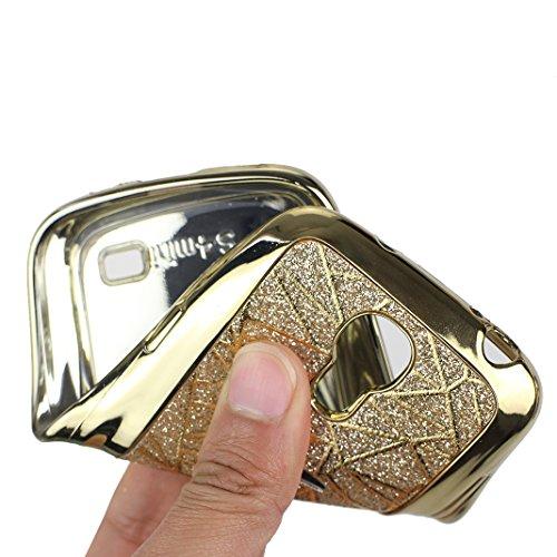 Funda Samsung I9190 Rosa Schleife Glitter Case Carcasa para >                                         Samsung Galaxy S4 MINI                                         < con Suave TPU Silicona Caso Brillante Brillo llamativa Oro