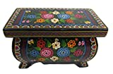 Olinala Medium-Pudgy Rectangular Footed Lacquerware Jewelry Trinket Stash Chest Hand Crafted Incised Carved Painted in Guerrero, Mexico (Black - Rainbow Garden)