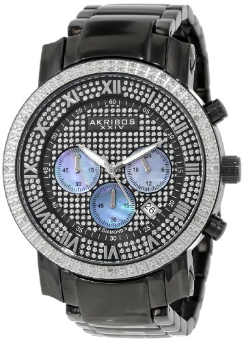 Akribos XXIV Men's AKR439BK2 Grandiose Dazzling Diamond Black Chronograph Watch