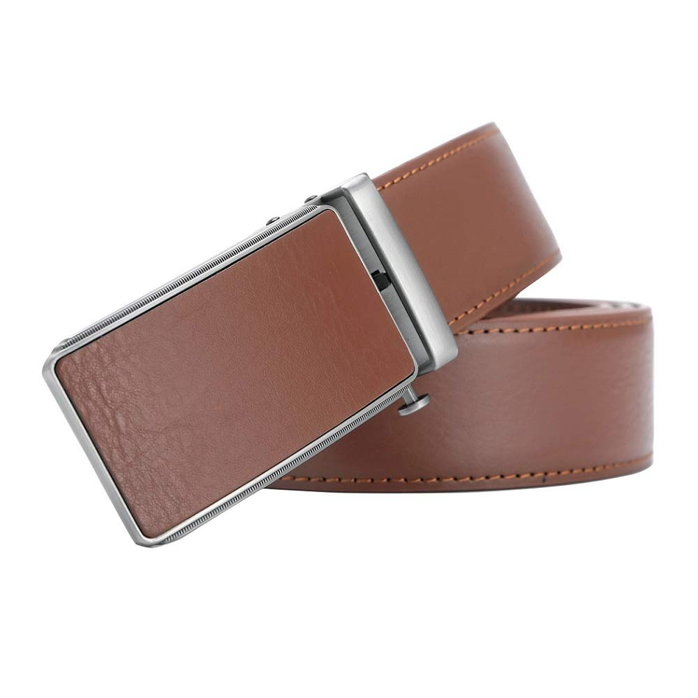 Mens Solid Buckle with Automatic Ratchet Dress Genuine Leather Belt 35mm Wide 1 3//8 Trim to Fit
