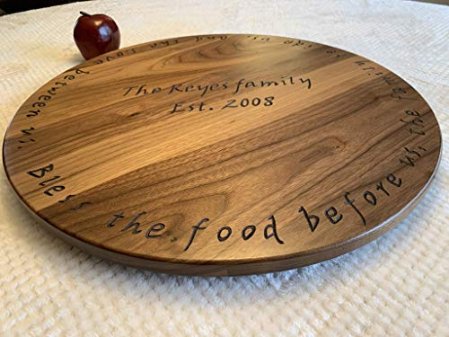 "20"" solid walnut wood Lazy susan with hand-carved engraving. Handmade by Java Woodworks"