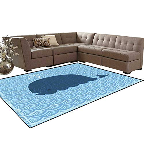 Whale Anti-Skid Area Rugs Little Whale Water on Top with Artwork Deco Wavy Like Patterned Background Abstract Work Customize Door mats for Home Mat 6'x8' Blue ()