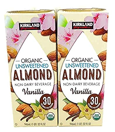 Kirkland Organic Unsweetened Almond Non-Dairy Beverage/Milk Vanilla 2 (32  Oz ) Cartons