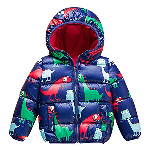 Pupik, Kids Colorful Dinosaur Print Zip Up Padded Thick Hooded Puffer Jacket, Blue 4T