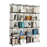 KOUSI Shelving 20 Cube Storage Black Book Organizer Metal Bookcase Metal Bookcase Cube Book Shelves Grid Unit Cubby Wall Storage