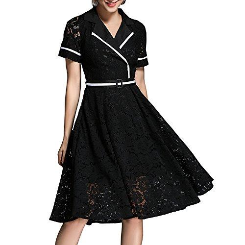 Reine Kleid Partykleid girl Kurzarm Spitze Midi Cocktailkleid Kleider Damen E Cocktail Schwarz YL01609 Hohl qzwHxPHt