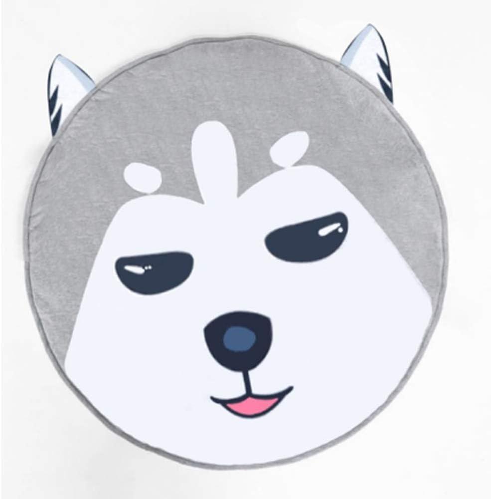 Abreeze Kids Nursery Rug Play Mat Round Carpet Cartoon Husky Design Home Room Decor (Husky)
