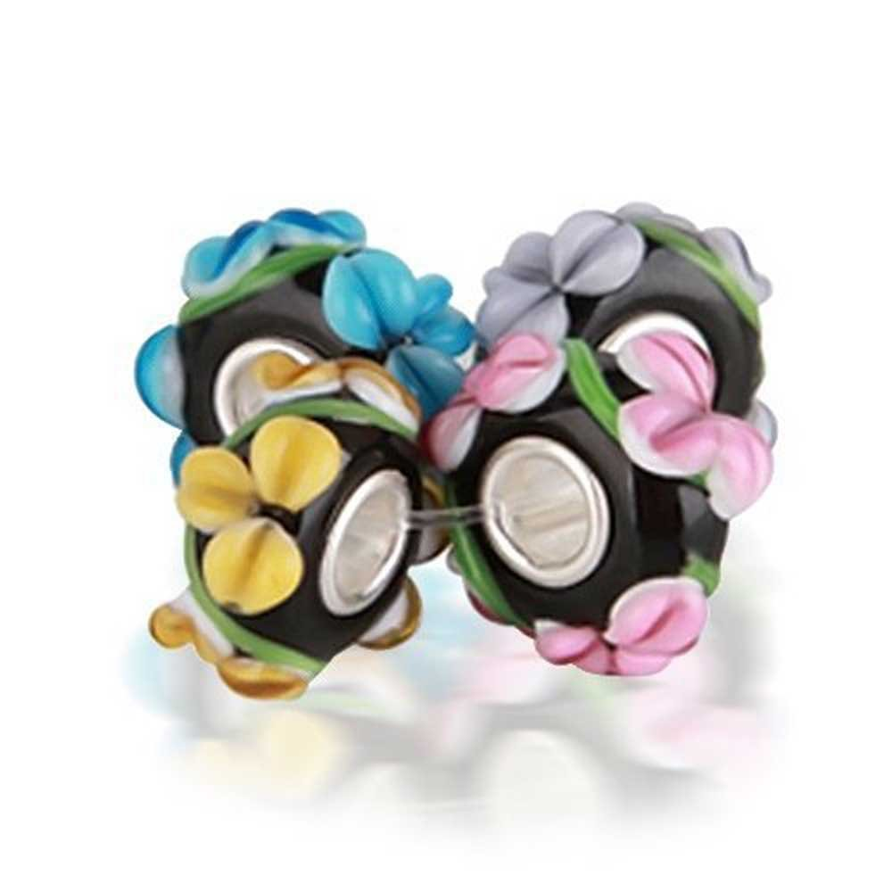 Set of Four Bundle assorted 3D Floral Black Murano glass Charm Bead .925 Sterling Silver