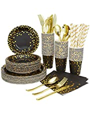 Black and Gold Party Supplies 175 Pieces Golden Dot Disposable Party Dinnerware Party Supplies Paper Cup Straws for Black and Gold Birthday Tableware Serves 25 Black Paper Plates Napkins Cups, Gold Plastic Forks Knives Spoons