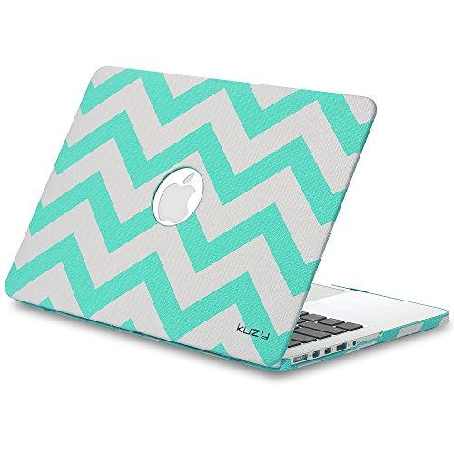 "Kuzy - Chevron Teal / Aqua Hard Case for MacBook Pro 15.4"" with Retina Display Model: A1398 (NEWEST VERSION) Cover Fabric finish - Teal / Aqua Chevron"