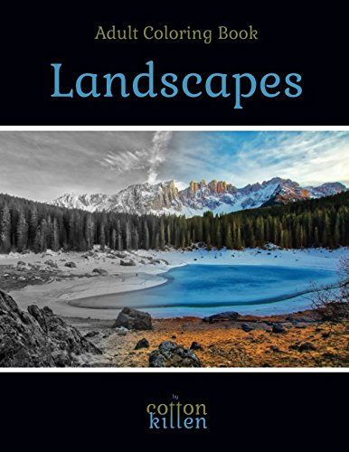 Landscapes - Adult Coloring Book: 49 of the most beautiful grayscale landscapes for a relaxed and joyful coloring time