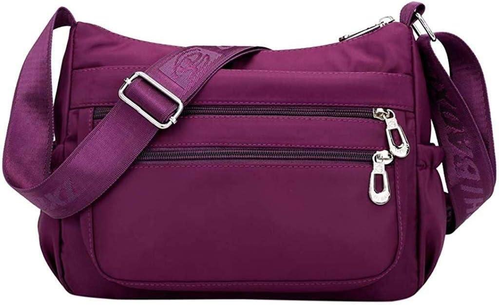 Suge Crossbody Bags for Women,Fashion Travel Tote Multi Pocket Shoulder Bag Waterproof Nylon Purses and Handbags Color : Black, Size : 2720cm