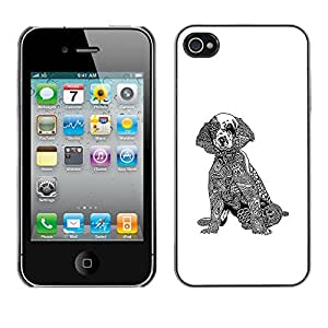SoulCase / Apple Iphone 4 / 4S / Tribal Tattoo Spaniel Dog Totem Illustration / Delgado Negro Plástico caso cubierta Shell Armor Funda Case Cover