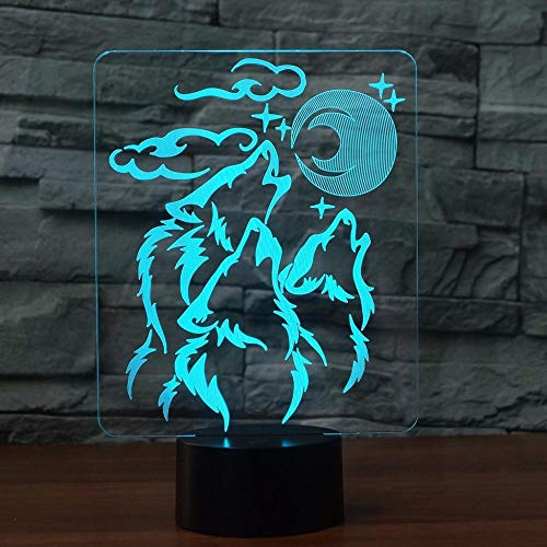 ZBWXYD 3D Illusion Night Light Wolfs Shape Acrylic Led 3D Lamp 7 Color Change Remote Touch Switch USB 3D Night Light for Baby Sleeping Lighting-Touch