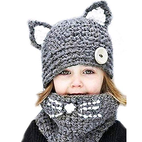 Yanekop Girl's Winter Animal Hats And Scarves Set Warm Hooded Scarf Best Gifts(Grey Cat)