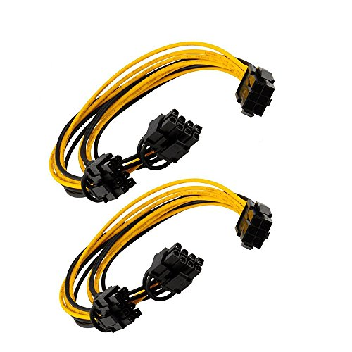 Dual Video Cards Sli ([2-Pack]Exwin PCIe Splitter Cable, 6 Pin PCIe Express to 2 x PCIe 8 (6+2) Pin for Graphics Video Card 18AWG 6 Pin to 2 x 8 (6+2) Pin Female to Male for GPU Mining Rig VGA Splitter PCIe Hub Power cable)