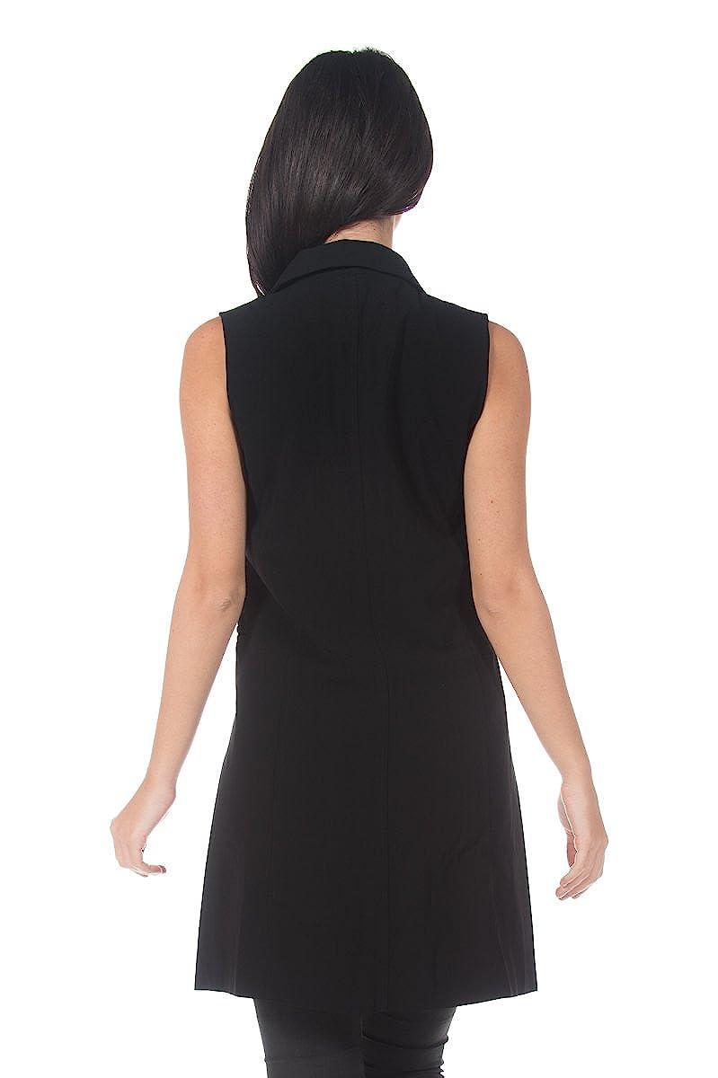 Womens Black Double Breasted Trench Coat Style Dress Long Blazer Waistcoat Vest