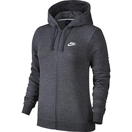 Mujer da sportiva con Felpa cappuccio antracite Heathr Gris Nike sportivo bianco Felpa donna 6w4q8A