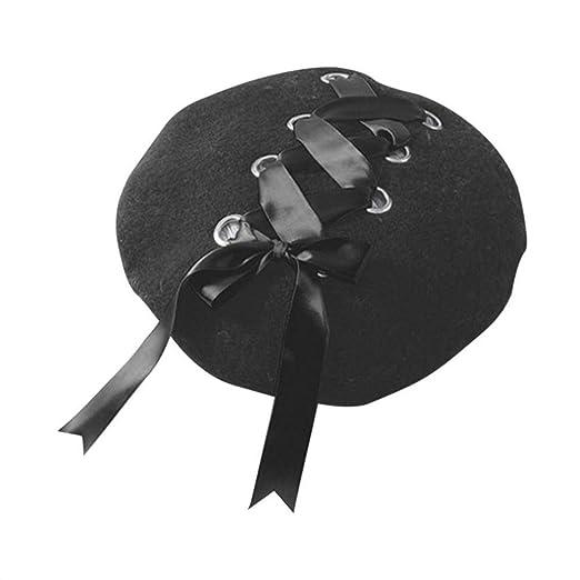 Sweet Women Beret Female Hat Soft Ribbon Strap Woolen Beret for Autumn  Winter (Black) 534232ede6f