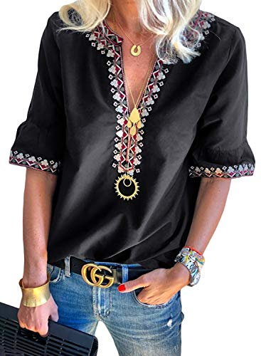 - Asvivid Womens Summer Embroidered V Neck Tops Short Sleeve Boho Shirt Blouses Vacation Tops Plus Size 2X Black