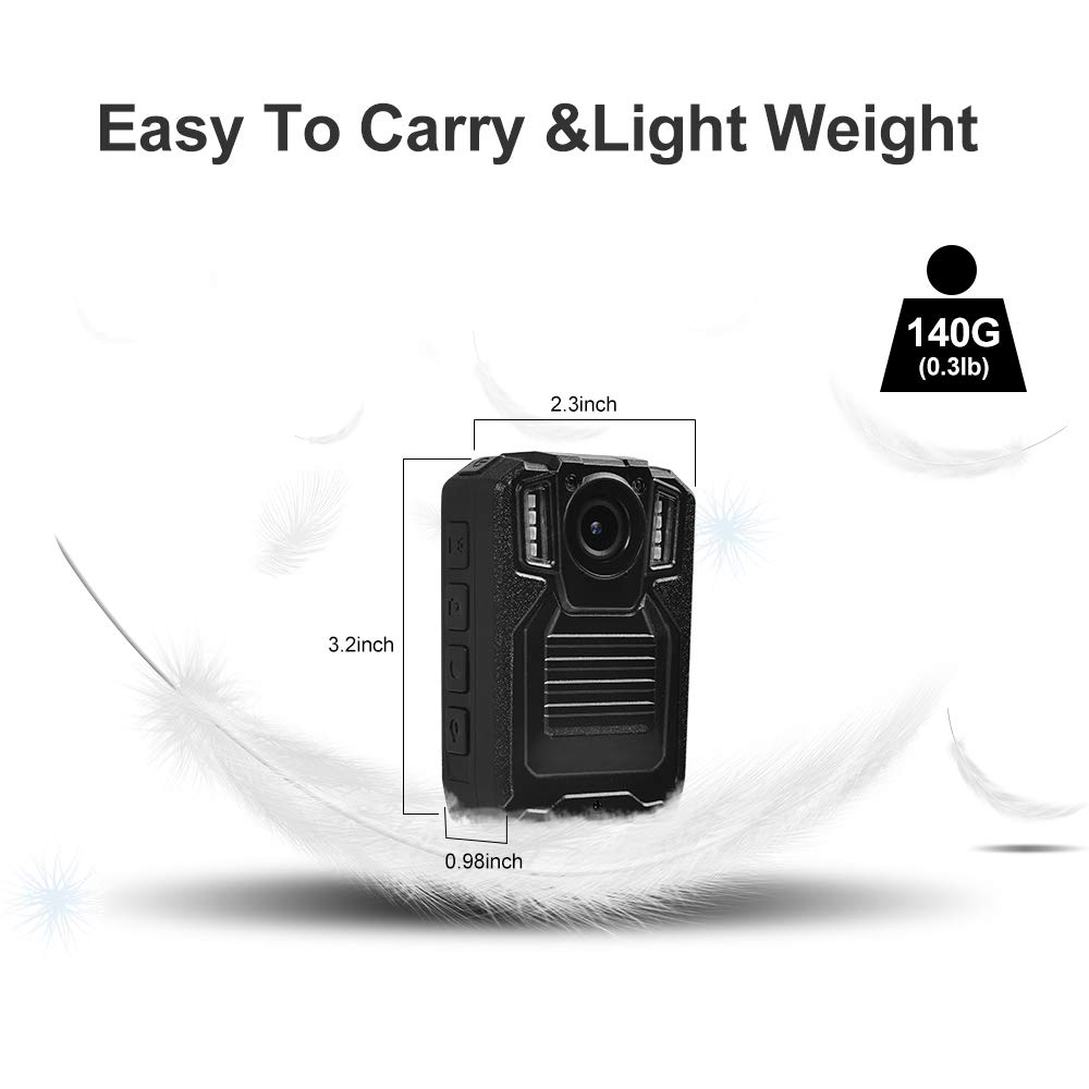 SMONET 【2019 New】 Body Camera with Audio, HD Police Body Camera(Built in 64GB),2 Inch Display Body Cameras for Law Enforcement, Body Worn Camera with Night Vision,Video Recorder,Waterproof by SMONET (Image #4)