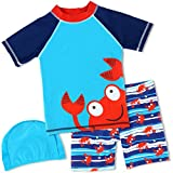 HONISEN Boys Two Piece Rash Guard Swimsuits Kids Short Sleeve Sunsuit Swimwear UPF 50+ Bule 2T