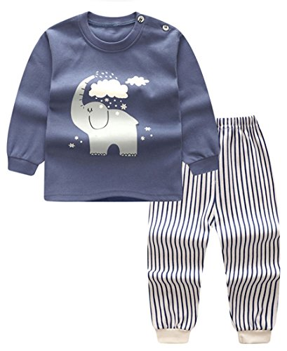 Unisex Baby Boys Girls 2-Piece Cotton Pajama Sleepwear Outfits Set(18-24 Months,Elephant)