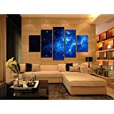 5 Panel Unframed Beautiful Starry Sky Modern Giclee Canvas Prints Artwork Blue Stars Canvas Oil Painting Wall Art for Home and office Decorations