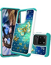 for Samsung Galaxy S20 Ultra Glitter Phone Case,QFFUN Soft Silicone Hard Plastic Back Hybrid Double Layer 2 in 1 Bling Crystal Diamonds Anti-Scratch Protective Cover with Screen Protector - Gold Butterfly