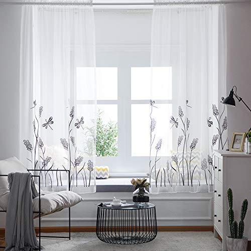 at Dragonfly Embroidery Sheer Curtain for Living Room,Window Rod Pocket Top Imaginary Semi Voile Drapes Curtains for Bedroom(52 by 84 Inch Length,White/Grey,1 Piece) ()