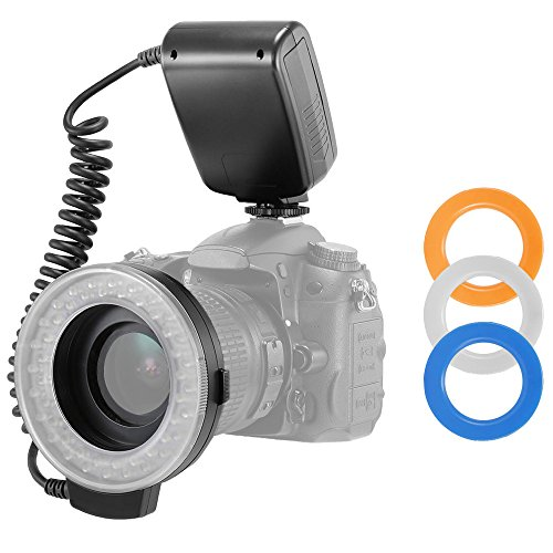 Precision Camera Flash - Precision Design 130 Universal Macro LED Ring Light & Flash with 3 Colored Diffusers