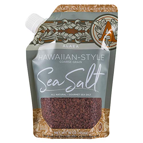 SaltWorks Alaea Red Hawaiian Sea Salt Coarse Grain, Pour Spout Pouch, 16 Ounce (Hawaiian Red Clay)