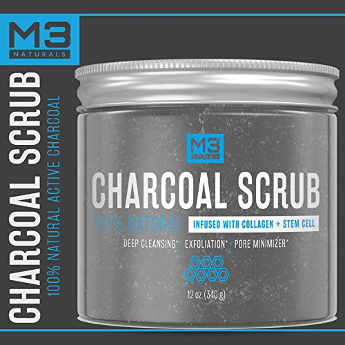 M3 Naturals Activated Charcoal Scrub Infused with Collagen & Stem Cell All Natural Body & Face Skin Care Exfoliating Blackheads Acne Scars Pore Minimizer Reduces Wrinkles Anti Cellulite12 OZ by M3 Naturals (Image #3)