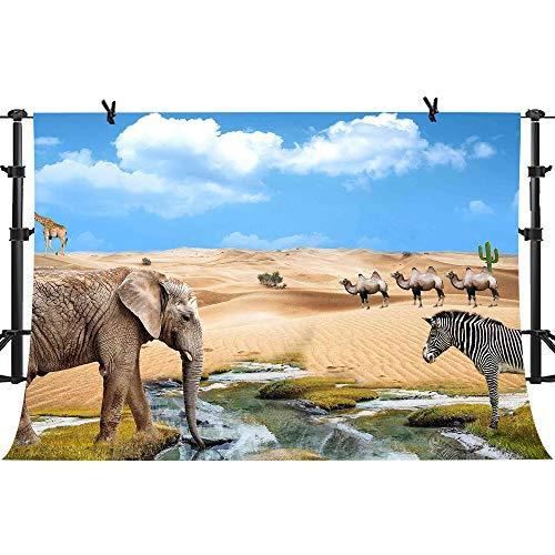 PHMOJEN African Animals Desert Oasis Photography Backdrop Elephant Camel Giraffe Zebra Background Vinyl 10x7ft Photo Shooting Props -