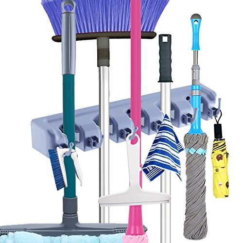 Mop and Broom Holder, Cooper GTV Storage and Mop Holder Garage Organizer Hooks Wall Mounted Organizer for Home Garden Tool Shelving Ideas ,5 Ball Slots and 6 Hooks