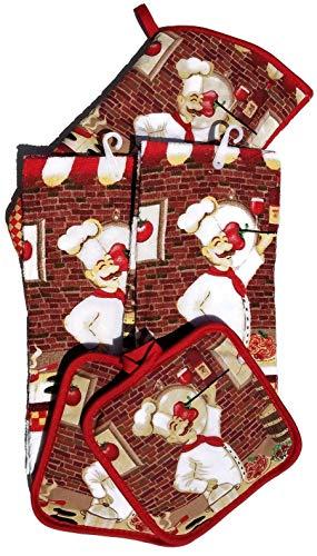 HomeConcept 5 Piece Kitchen Towel Set Includes 2 Towels 2 Potholders 1 Oven Mitt - Mitt Oven Chef