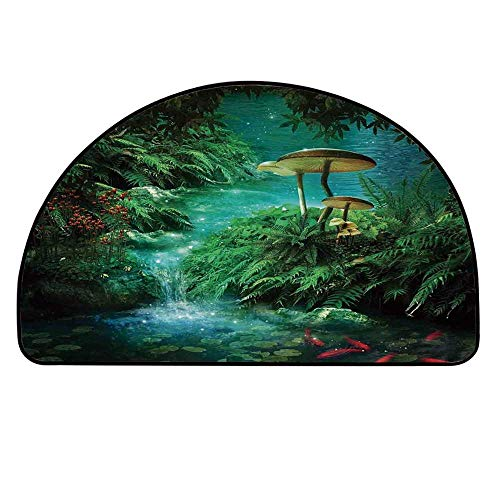 - YOLIYANA Fantasy Decor Half Round Door Mat,View of Fantasy River with a Pond Fish and Mushroom in Jungle Trees Moss Eden for Indoor Outdoor,35.4