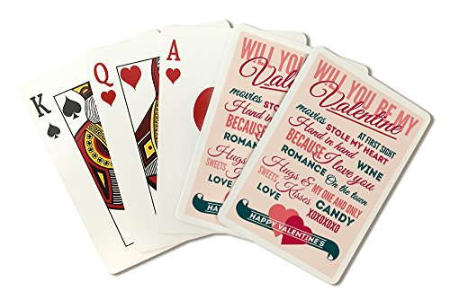 Be Mine - Valentine's Day - Typography Playing Card Deck