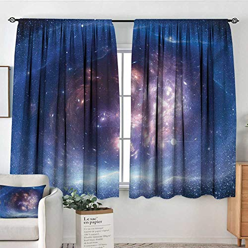 Mozenou Outer Space Patterned Drape for Glass Door Outer Space Nebula Gas Cloud and Star Clusters Universe Cosmos Astronomy Art Bedroom Blackout Curtains 63