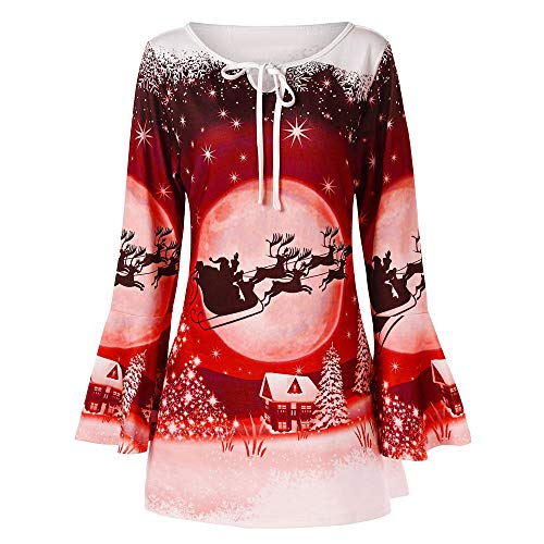 Forthery Clearance Women's Tunic Tops Plus Size Xmas Reindeer Flare Sleeve T-Shirt Loose Blouse(Red,XXXX Large)