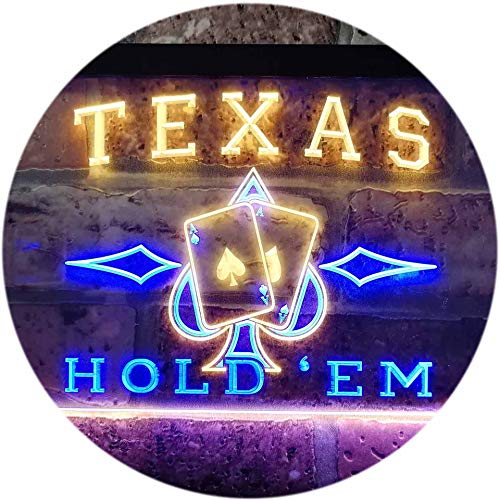 (ADVPRO Texas Hold'em Poker Casino Garage Dual Color LED Neon Sign Blue & Yellow 16 x 12 Inches st6s43-s0217-by)