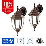 IN HOME 1-Light Outdoor Exterior Wall Down Lantern, Traditional Porch Patio Lighting Fixture L04 with One E26 Base, Water-Proof, Bronze Cast Aluminum Housing, Clear Glass Panels, (2 Pack) ETL Listed