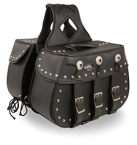 - Milwaukee Performance SH652ZB Black Zip-Off Triple Buckle PVC Throw Over Saddle Bag with Studs & Conchos (18X11X7X19)