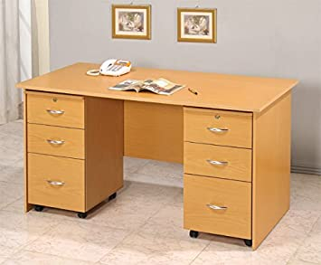 Home Office Writing Desk w/2 Matching File Cabinets: Amazon.co.uk ...