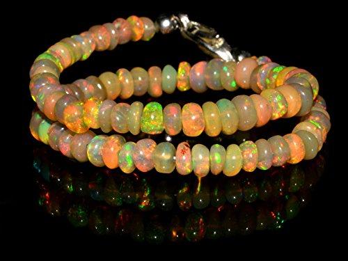 14+ Carat Ethiopian Opal Natural Gemstone Rondelle Plain Beads 7 Inch Bracelet